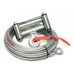 Трос стальной для лебедки 9,5мм х 28 метров с роликами и крюком